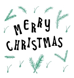 Xmas christmas greeting card with lettering vector