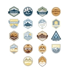 Mountain and outdoor adventure vintage emblems vector