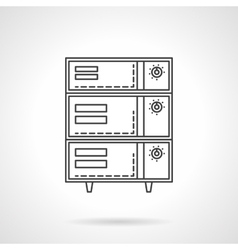 Bakery oven with switches flat line icon vector