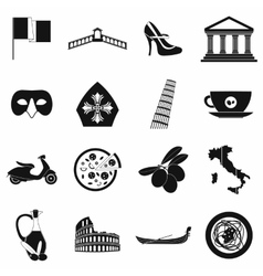 Italy black simple icons vector