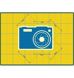 Photo camera icon  blueprint style vector