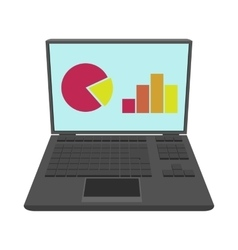 Laptop with business graph icon cartoon style vector