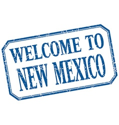 New mexico - welcome blue vintage isolated label vector