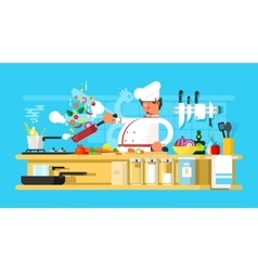 Chef prepares in kitchen vector