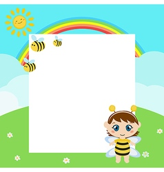 Happy baby with large sheet of paper vector