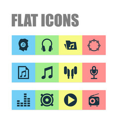 Audio icons set collection of meloman dossier vector
