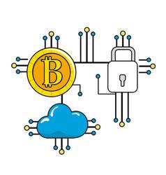 Bitcoin padlock and cloud data with circuits vector