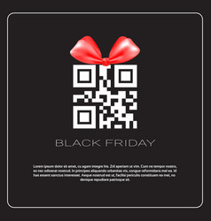 Black friday sale poster with qr code with ribbon vector