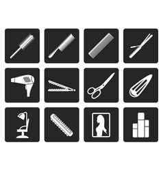 Black hairdressing coiffure and make-up icons vector image