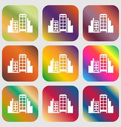 Buildings icon Nine buttons with bright gradients vector image