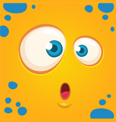 cartoon monster face surprised expression vector image vector image
