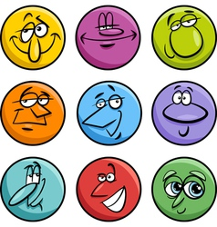 characters faces cartoon set vector image vector image