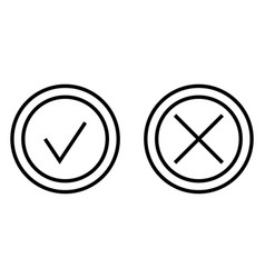 check and cross mark thin line icon vector image