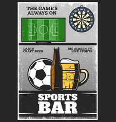 colorful vintage sport bar poster vector image
