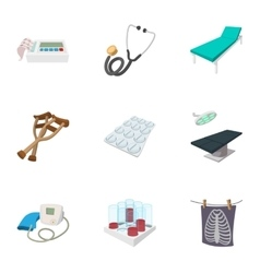 Doctoral icons set cartoon style vector