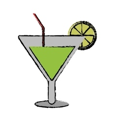 Drawing soft drink cocktail lemon and straw vector