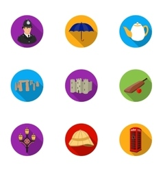 England country set icons in flat style Big vector image