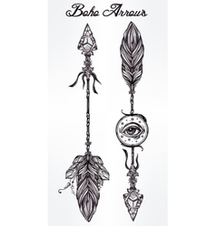 Ethnic boho decorative arrows set in tattoo style vector image