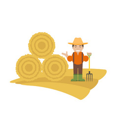 Farmer with pitchfork and haystack vector