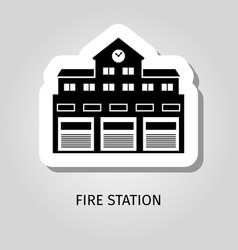 fire station black building sticker vector image