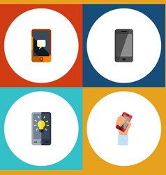 flat icon touchscreen set of telephone chatting vector image