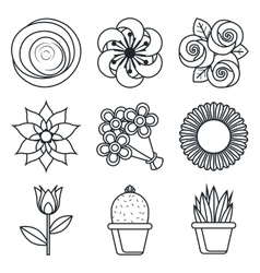 Flowers icons on white background vector image vector image