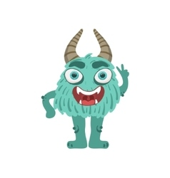 Furry turquoise friendly monster with horns vector