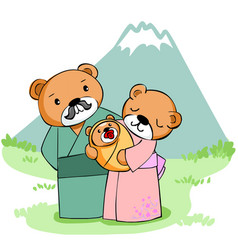 Happy family bear at mountain vector