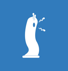 Icon on background condom silhouette and vector