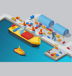 Isometric seaport and dock template vector