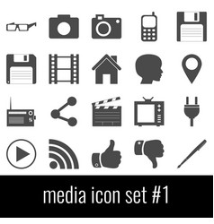media icon set 1 gray icons on white background vector image vector image