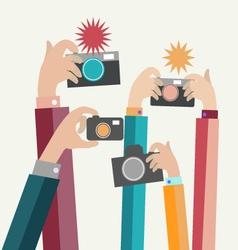 Modern flat photographers hands vector image