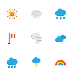 nature flat icons set collection of storm the vector image vector image