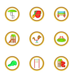 Outdoor playground icon set cartoon style vector