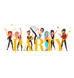 Party banner poster - friends having fun in club vector
