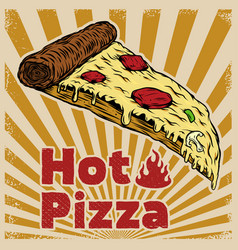 pizza isolated on vintage background design vector image