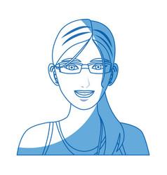 Portrait woman sport concept wearing smart glasses vector