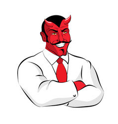 Satan boss devil businessman in white suit red vector