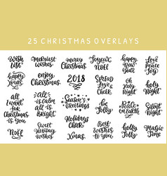 set of christmas hand drawn ink lettering vector image vector image