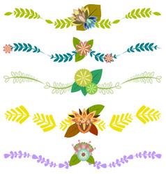 Set of floral borders decorative elements vector