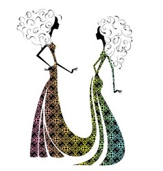 Silhouette of two beautiful girls2 vector image vector image