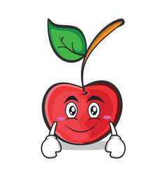 Smile face cherry character cartoon style vector