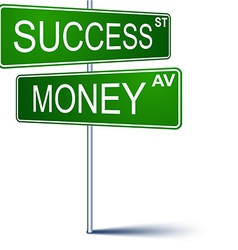 Success-money direction sign vector