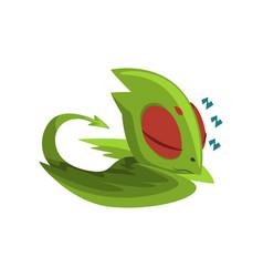 Sweetly sleeping baby dragon cartoon character of vector