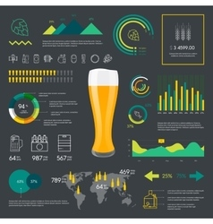Thin line color beer infographic vector image