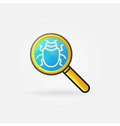 Virus in magnifying glass logo vector