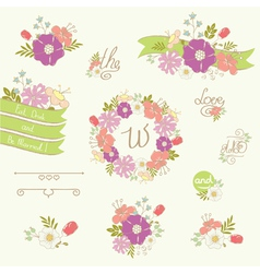 Wedding floral elements vector