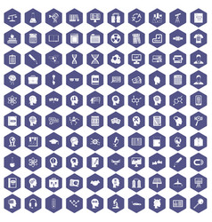 100 knowledge icons hexagon purple vector