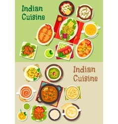 Indian cuisine dishes for restaurant menu design vector