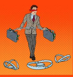 Pop art blindfolded businessman walking with money vector